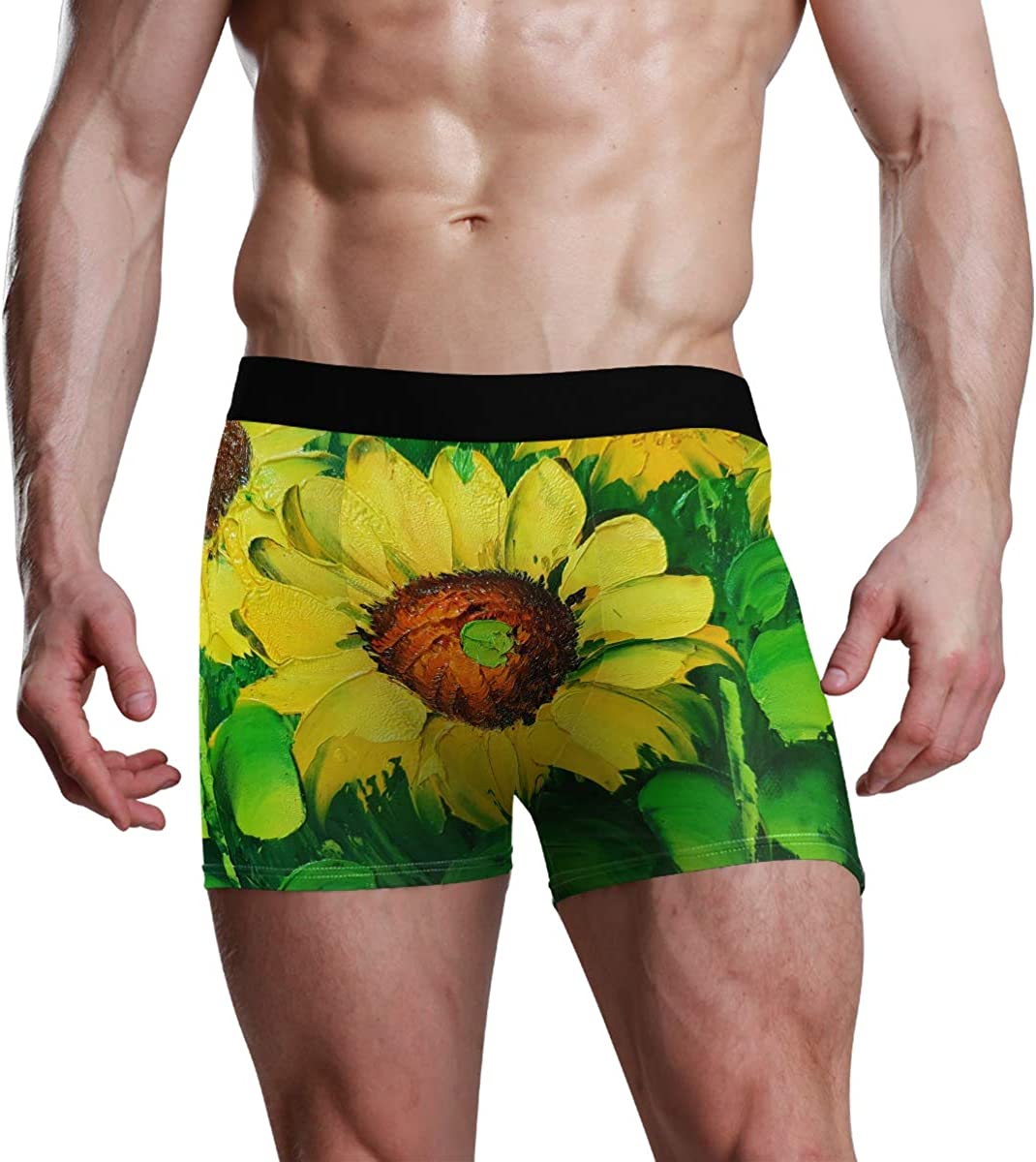 HangWang Men's Boxer Briefs Colorful Sunflowers Oil Painting Green Yellw Bikini Underwear Stretch Trunks Boys Underpants