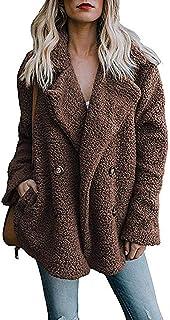 Ablanczoom Women's Coat Casual Lapel Fleece Fuzzy Faux Shearling Button Warm Winter Oversized Outwear Jackets with Pockets