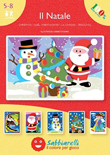Sabbiarelli Sand-it for Fun - Album Noël : 5 Dessins préencollés à colorier avec Le Sable (Sable Non Inclus), Convient pour Les Enfants Ans 5+