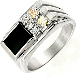 Rectangular Onyx with Cubic Zirconia Ring, Sterling Silver, 12k Green and Rose Gold Black Hills Gold Motif
