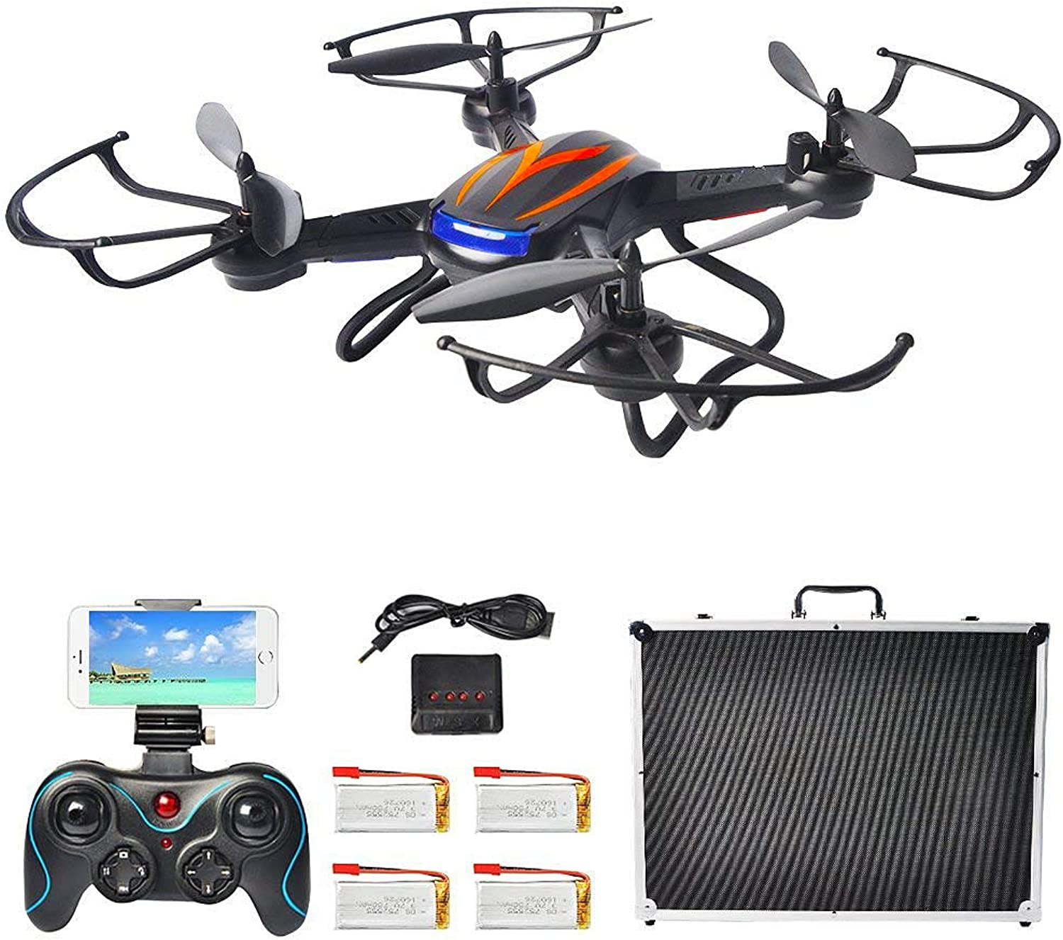F181W WiFi FPV Drone with 4 Battery and Portable Carrying Case, RC Quadcopter with 720P Camera Live Video Altitude Hold One Key Return Function for Beginners and Kids (Value Pack Black)