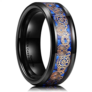 King Will Mens 8mm Black/Silver Tungsten Carbide Wedding Ring Blue/Black Carbon Fiber & Rose Gold Unique Pattern Inlay High Polished