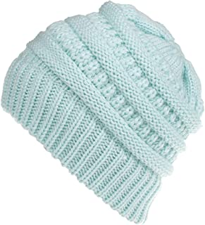 Wiwsi Women Multicolor Baggy Warm Crochet Beanie Elastic Comfortable Slouchy Cap