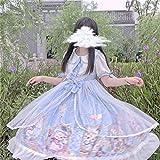 Yuncheng Vestido de la Magdalena Lolita Vestido Lolita Dulce japonés Suave Hermana Lolita Gato Alta Cintura Malla Manga Corta Vestido para Chica Kawaii niña Verano (Color : Blue, Size : Large)