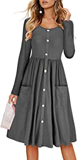 Vestito con Bottoni Davanti e Tasche Vintage Swing Abito Autunno Inverno Donna Basic Vestiti Manica Lunga Ragazza Abiti Li...