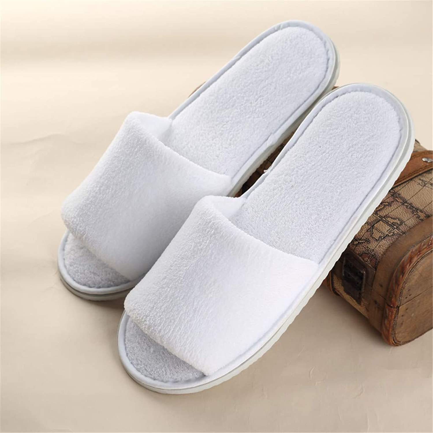10 Pairs Disposable Spa Slippers - Coral Fleece Comfortable and Non-Slip - Perfect for Home, Hotel Commercial Use,White,Open