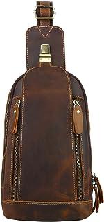 Men's Leather Sling bag Chest bag One shoulder bag Crossbody Bag Backpack for men