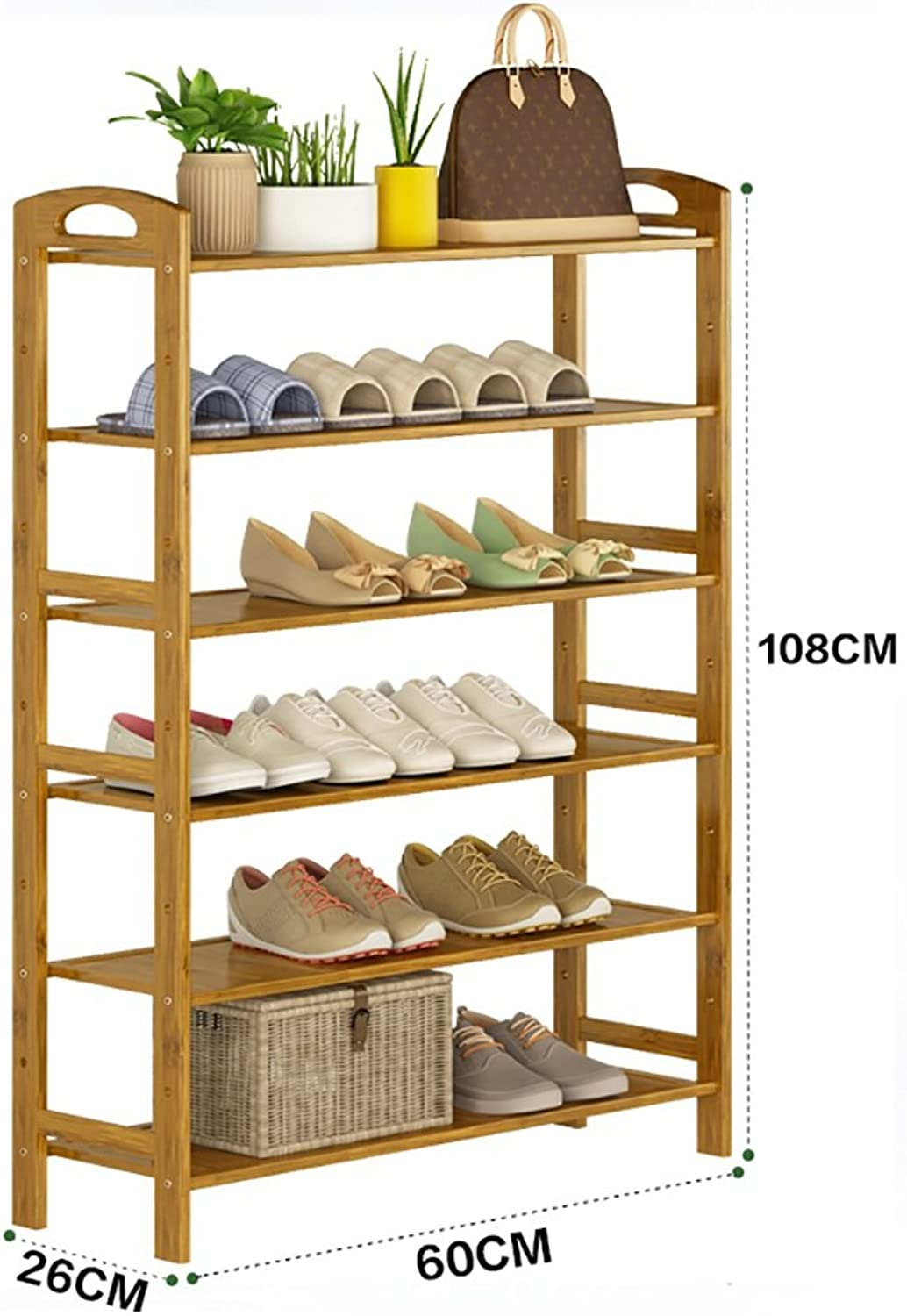 shoes Bench Organizing Rack Natural Bamboo shoes Rack six-Layer Unit Shelf Simple Storage Shelf (Size   60  26  108cm)