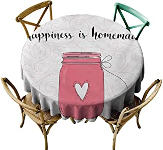 SKDSArts Round Tablecloth Wood Quote,Calligraphic Happiness is Homemade Lettering with Swirls and Jar of Love,Pink Black and Coral D65,Table Flag Home Decoration