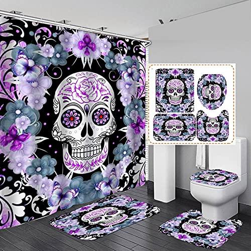 Maktn Halloween Duschvorhang Set, Totenkopf-Duschvorhang, Halloween-Dekoration mit Totenkopf & roter Rose, Polyester-Stoff, Anti-Rutsch-Dusche Teppich Wasserdichtes mit (E,180 x 180 cm)