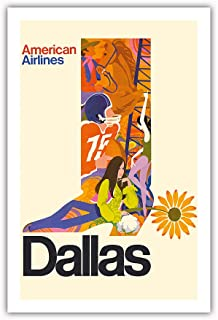 Pacifica Island Art - Dallas, Texas - Cowboy Boot with Sunflower Spur - American Airlines - Vintage Airline Travel Poster c.1960s - Premium 290gsm Giclée Art Print 24in x 36in