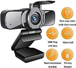 LarmTek - Cámara web HD 1080p con obturador de privacidad, cámara web para ordenador portátil, con micrófono, videollamadas panorámicas y soporte de grabación para conferencias, W3, Reino Unido