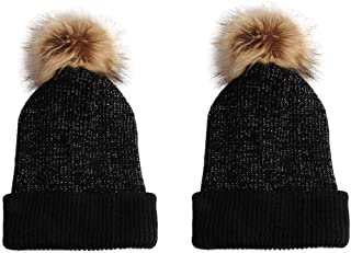 Cozy Time Slouchy Faux Fur Pom Beanie Hats with Metallic Knitted Style for Extra Warmth and Comfort