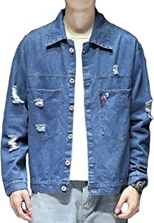 Jofemuho Mens Fleece Thicker Loose Fit Plus Size Denim Quilted Jacket Coat Outerwear