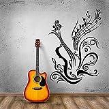 wZUN Guitarra Nota calcomanía Estilo Musical Vinilo Etiqueta de la Pared música Estudio decoración Vinilo Cartel de la Pared 57x82cm