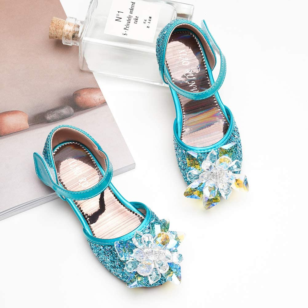 Joeupin Little Girl's Sparkle Mary Jane Princess Party Dress Shoes Flat Sandals