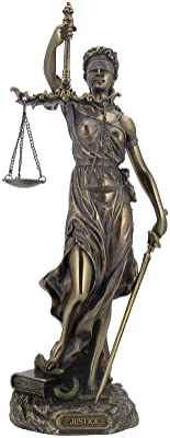 Unicorn Studio WU76457A4 Cardinal Virtues Our Lady of Justice Statue, 12-inch High, Cold Cast Bronze