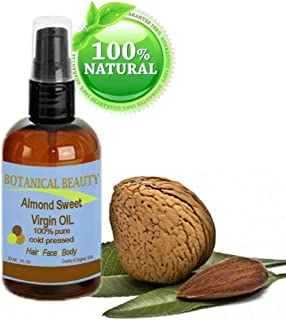 Botanical Beauty Almond Sweet Virgin Oil, 100% Pure, Cold Pressed, 1 oz -30 ml