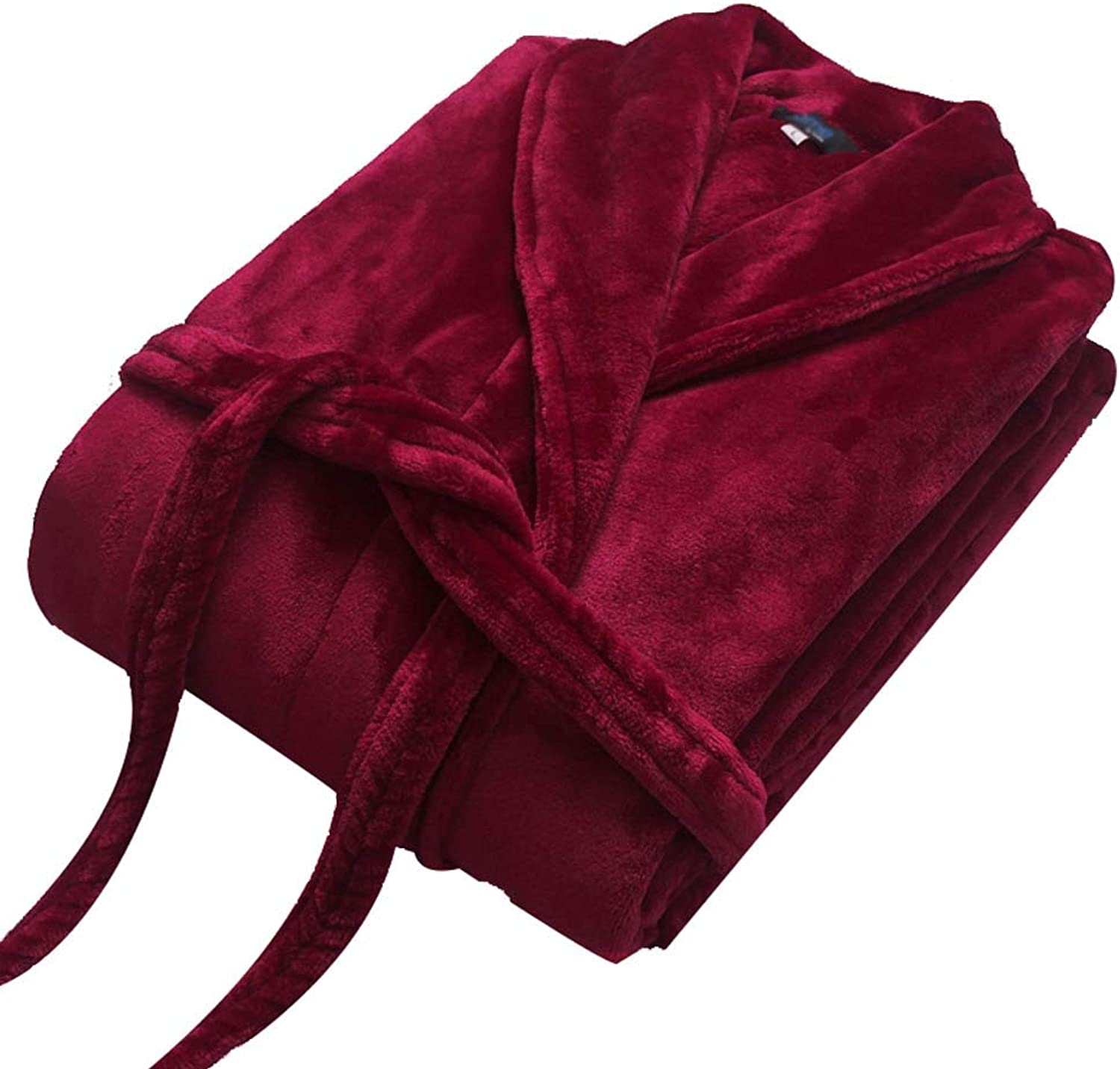GJFeng Couple Bathrobes Autumn and Winter Flannel Fashion Multicolor Thickening Large Lapel Long Warm Pajamas (color   Deep red, Size   XL)