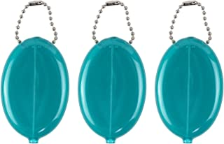 Oval Rubber Coin Purse Change Holder Made in U.S.A. For Men/Woman With Chain By Nabob (Teal)