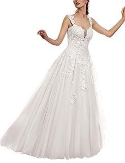 33616e07fc8 VKStar® Femme Robe Dentelle Mariage Longue sans Manche à Bretelles Chic Robe  Princesse de Mariée