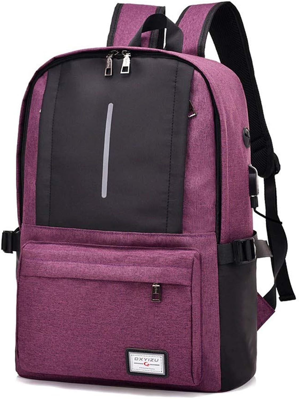 Aufladentasche reflektierende Outdoor-Freizeitrucksack USB-Tasche Computertasche, 43 × 29 × 13 cm, lila