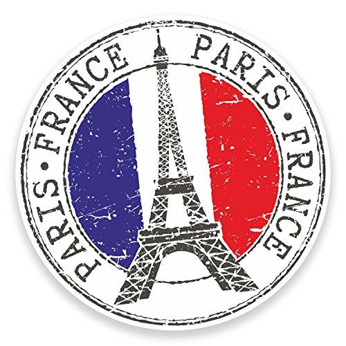 2 x Paris Eiffel Tower France Sticker Car Laptop Decal Travel Luggage Tag #9271 (10cm Wide x 10cm High)