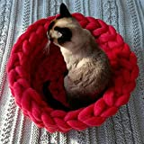 Century Mall Chunky Crocheted Pet Bed Cozy Wool Pet Furniture Thick Knitted Pet Bed Dog Cat Cave Cat Nest Pet House 100% Handmade,Gift Idea (16 inch, Red)