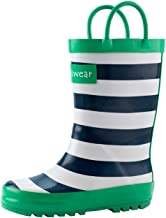 blue and white striped rain boots