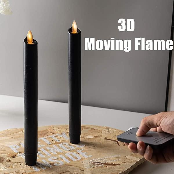 一套 2 个万圣节黑色移动灯芯无焰锥形蜡烛带远程定时器蜡橙色南瓜 LED 电池供电万圣节蜡烛杰克万圣节窗户可以