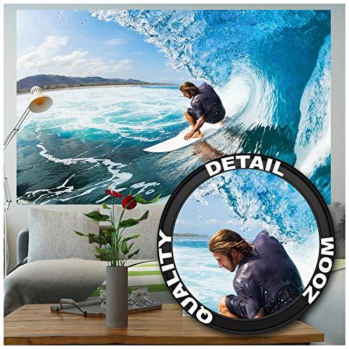 ✅ 140 cm x 100 cm - 1 pieza ✔ XXL Póster Big Wave Surfing decoración mural por su interiorismo | Un impresionante instante como mural ✅ Naturaleza & acción ✔ el surfista y su tabla se hacen unos con el mar y las olas que montan – hasta que la ola per...