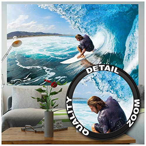 GREAT ART XXL Poster – Wellenreiter – Wandbild Dekoration Sport Meer Natur Beach Welle Surfen Ozean Surfbrett Surfboard Wassersport Wandposter Fotoposter Wanddeko Bild (140 x 100 cm)