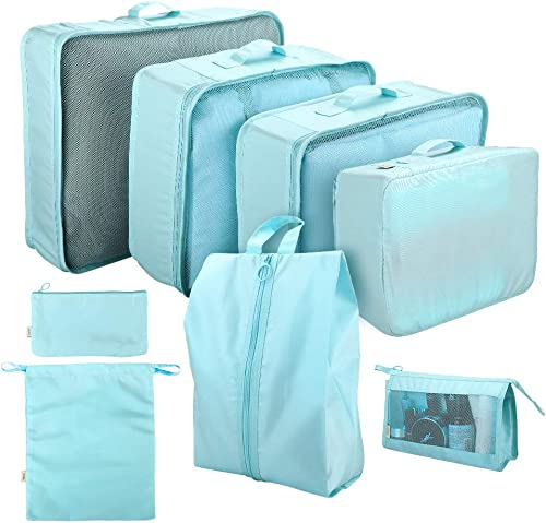 Cloudsky 7PCS Luggage Suitcase Organizer + 1PCS Free Cosmetic Pouch, Lightweight Waterproof Oxford Packing Cubes for ...