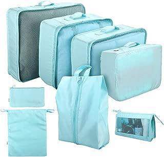 Cloudsky Waterproof Oxford Suitcase Organiser, 8 Set Packing Cubes Travel Storage Bag with Large/Medium/Small Mesh Bag, Cosmetic Bag, Shoe Bag