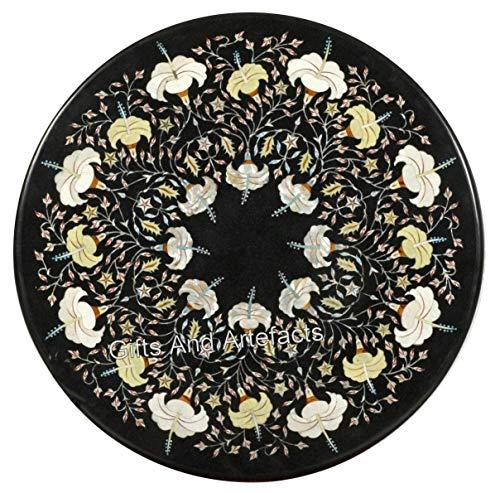 Mesa de comedor de mármol negro Pietra Dura Art de 76,8 x 76,8 cm