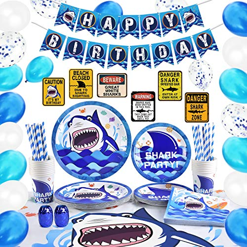 WERNNSAI Shark Party Supplies Set – Blue Ocean Pool Party Decorations for...