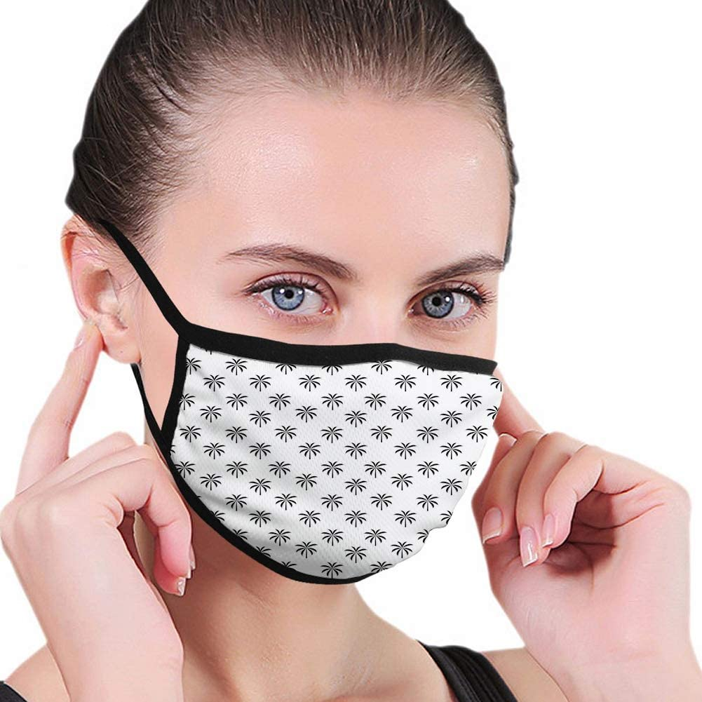 Palm Tree,Black Coconut Trees Exotic Grassland Rainforest of Tropic Climate Theme,Black White,Face Mask Reusable Washable Masks Cloth for Men and Women