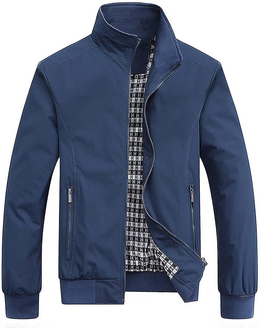 Omoone Men's Casual Jacket Stand Collar Full Zip Long Sleeve Workwear Lightweight Outwear