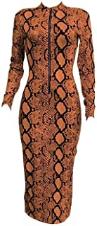 neveraway Womens Bodycon Floral Print Zip Long Sleeve Slim Long Maxi Dress