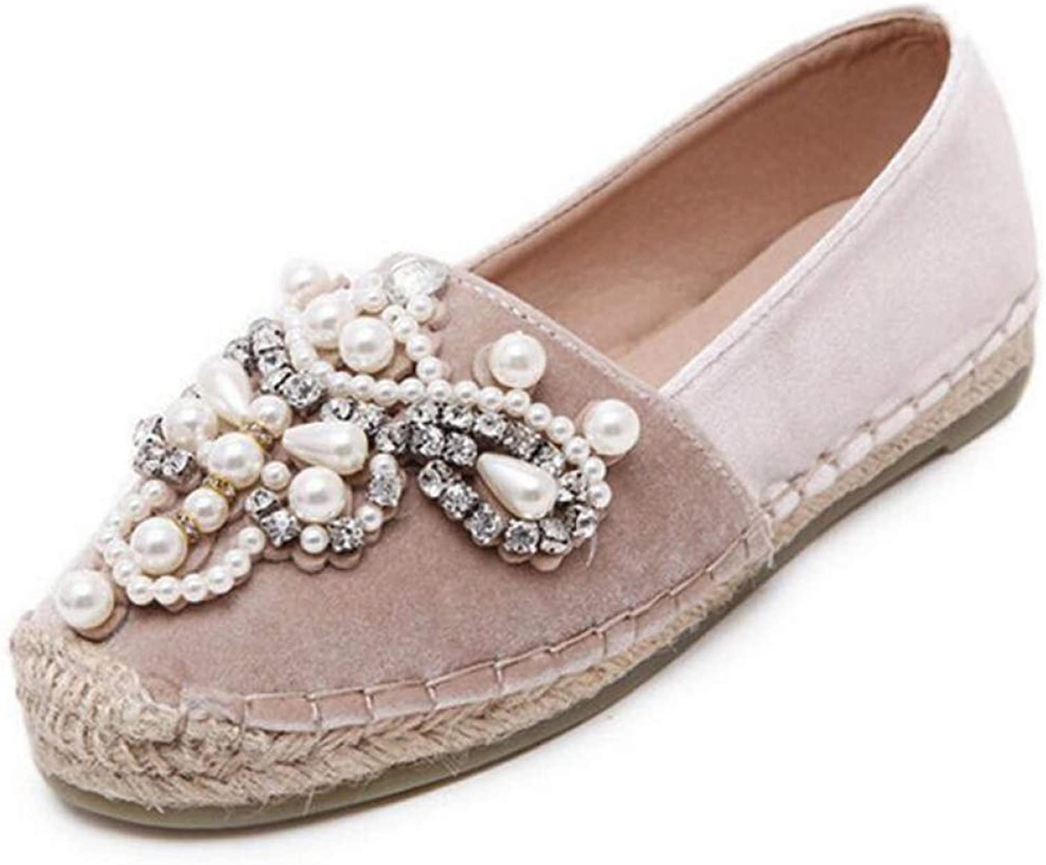 DETAIWIN Women Round Toe Flat Loafers shoes Leisure Crystal Slip On Comfort Ladies String Bead Casual Espadrilles