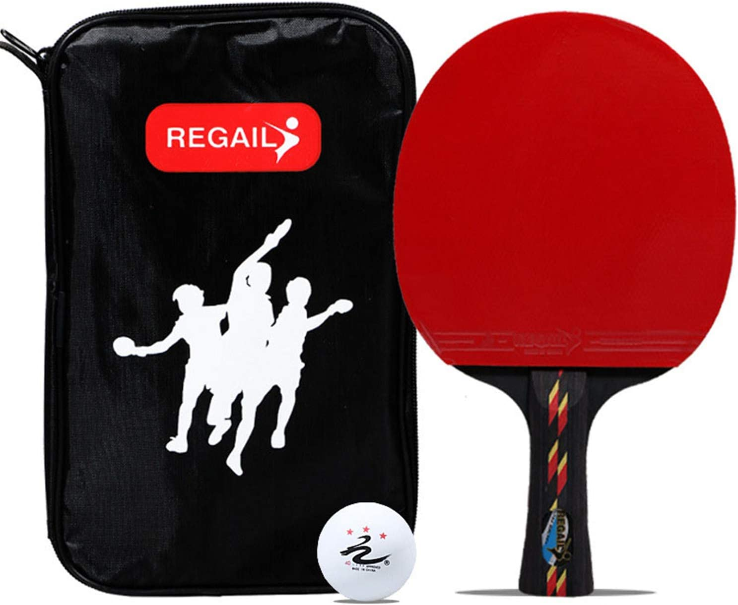 Jet Black Ping Pong Racket Combination - Intermediate Table Tennis Racket | 5-Layer Wood Blade, Rubber, Horn Handle | Match Table Tennis Racket | Protective Storage Box Cover