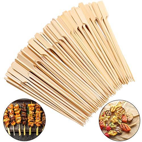 Aneco 200 Stück Bambus-Paddelspieße Holz-Paddelstäbe Grillspieße Cocktailspieße für Grillpartys, Kebabs, Obst, Schokoladenbrunnen, Fondues