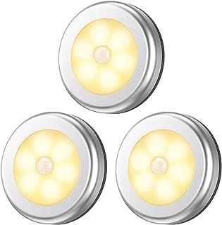 最新版 AMIR LED 人感 センサーライト キッチンライト 電池式 省エネ 自動点灯 消灯 磁石&粘着テープ付き ワイヤレス 小型 階段/廊下/玄関/トイレ 室内照明用 足元ライト 電球色 3個セット