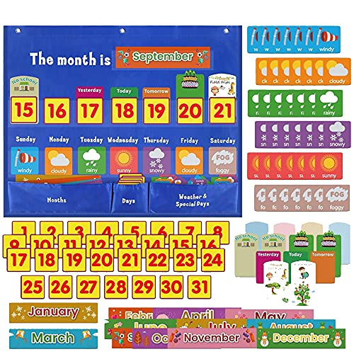 """Classroom Calendar Pocket Chart Inserts Cards Set, Weekly Calendar with Weather Pocket Chart for Preschool Classroom, Calendar for Kids Learning with 98 Cards, 18""""x 24"""""""