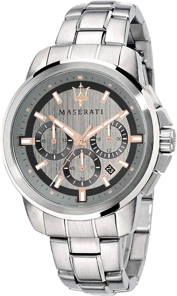Maserati orologio cronografo da uomo, collezione successo in acciaio 8033288792383
