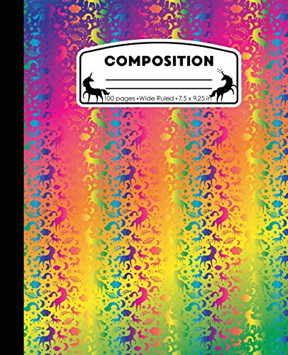 Composition: Unicorn Neon Rainbow Marble Composition Notebook Wide Ruled 7.5 x 9.25 in, 100 pages book for girls, kids, school, students and teachers