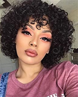 Molefi Short Curly Human Hair Wigs for Black Women 150% Density Short Black Kinky Curly Wig with Bangs None Lace Front Wigs for Women African American Fashion Looking (8Inch)