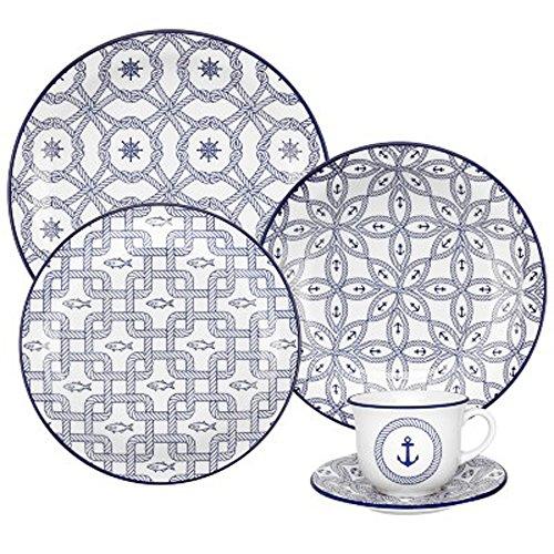Aparelho de Jantar e Chá com 20 Peças Oxford Daily Floreal Náutico Branco/Azul