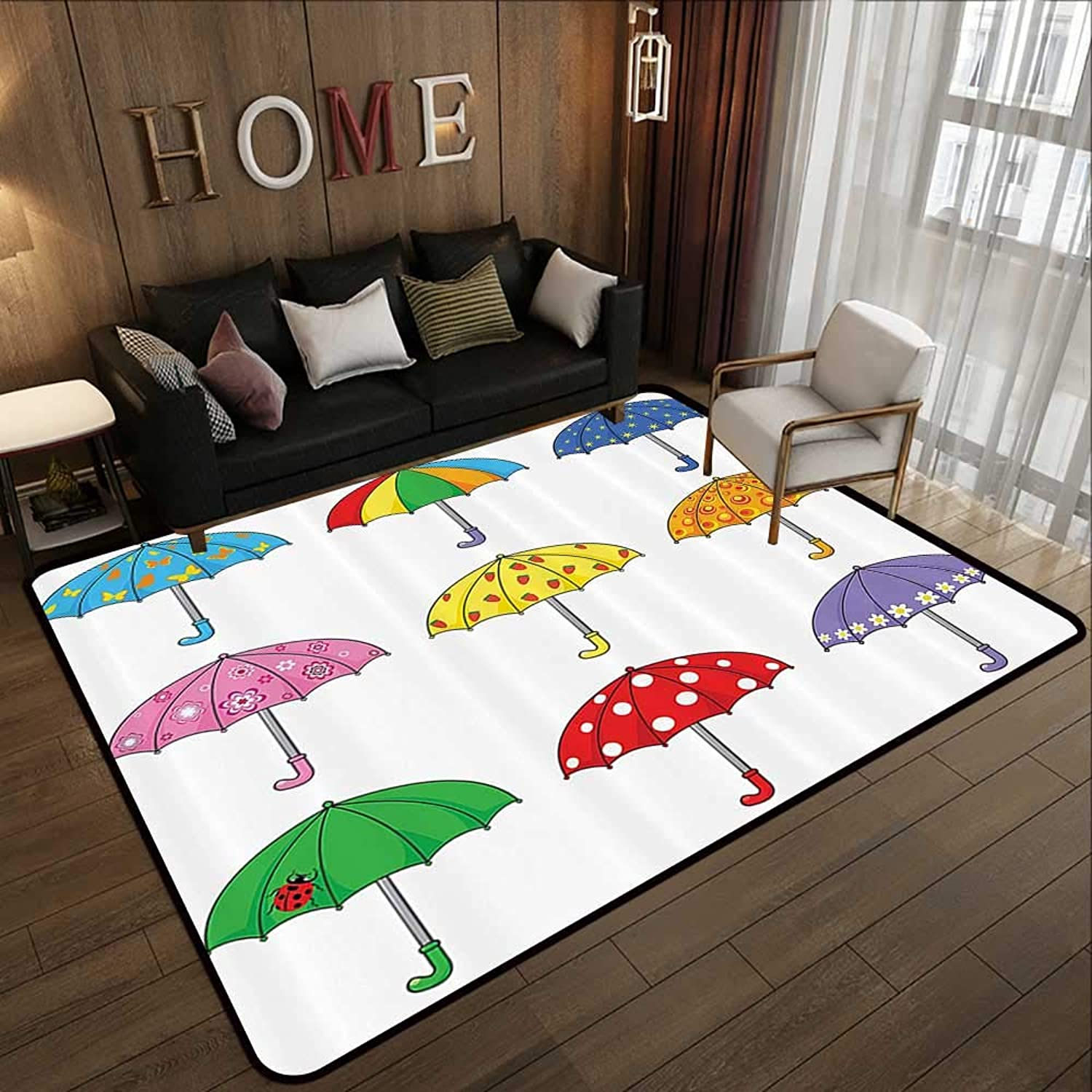Carpet mat,Apartment Decor,Rainbow Umbrellas with Ornate Polka Dot Butterfly Star Ladybug Planet Patterns,Multi 47 x 59  Floor Mat Entrance Doormat