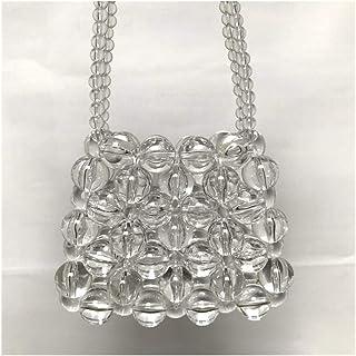 QFWN Designer Damen Handgefertigte Perlentaschen Mini Kreuz Umhängetasche Klare Mädchen Woven Messenger Bag Qualitäts-Tasc...